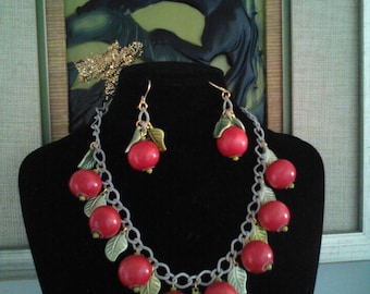 30s 40s Style Cherry Necklace & Earrings