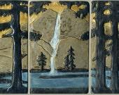 Craftsman Style Three Tile Fir Landscape Set with Yosemite Falls Decorative Art Tile Mountain Scene