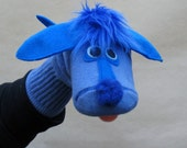 SALE Adorable Couture Blue Dog Sock Puppet