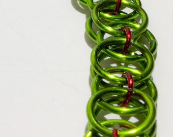 Red and Green Chainmaille Bracelet
