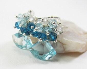 SUMMER SALE Aquamarine and Quartz Gemstone . Sterling Silver Dangle Fan Cluster Earrings . Turquoise Blue , Aqua Blue, London Blue Ombre . E