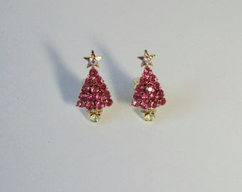 Gold Tone and Pink Rhinestones Christmas Tree Clip on Earrings