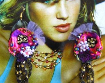 Beaded Embroidery Earrings, Asymmetrical Earrings, ,  Bohemian , Shabby Chic, Tattered, Bohemian,  Romantic.