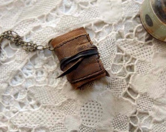 Miniature Wearable Book, Aged Paper, OOAK
