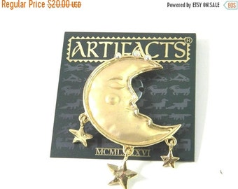 50% OFF JJ Man in the Crescent Moon with Stars Vintage Brooch Pin