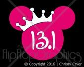Disney Princess Half-Marathon with CROWN, Vinyl Graphic Sticker