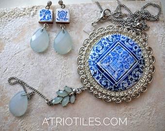 Portugal Antique Azulejo Tile Replica Earrings Necklace SET  Flower Tile Mural 16th Century  Chapel of Memory Nazare