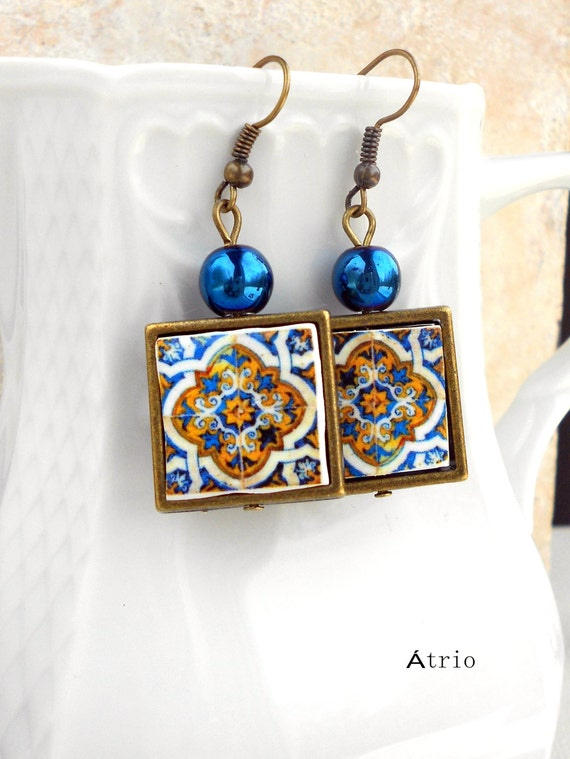 Earrings Portugal 17th Century Gold Blue Azulejo Metal FRAMED Tile Tomar -Convent of Christ built in 1160  - waterproof  reversible 224