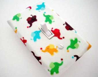 Elephants Light Switch Cover - Elephant Toss Switch Plate - Elephant Nursery Decor - Colorful Elephant Wall Decor - Outlet Covers Elephants