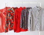 Vintage Wholesale Bulk Blouse Lot / 1960s 1970s Blouses Tops / FREE Domestic Shipping / 5 Piece Wholesale Women's Shirt Blouse Lots