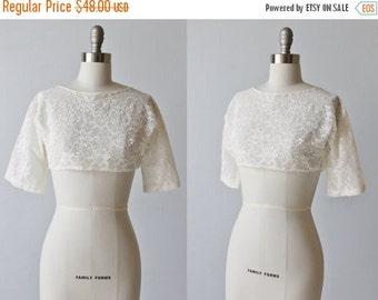 SALE Vintage Cropped Lace Bolero Jacket Top / 1950s Lace Wedding Jacket / White Lace Blouse