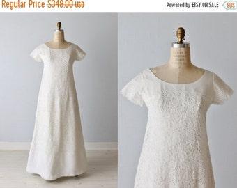 SALE Vintage Eyelet Lace 1960s Wedding Dress / A-Line / Modest / Short Sleeves / Simple Elegance
