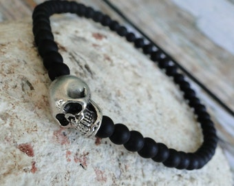 MEN'S Matte ONYX with SKULL Bead Bracelet, yoga, mala, boho, tribal