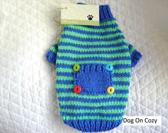 Striped Dog Sweater, Hand Knit Pet Sweater, Size XSMALL, Pet Top, Full Length, Whimsy Blue with Pocket