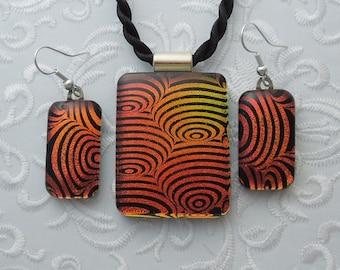 Pendant and Earring Set - Dichroic Fused Glass Pendant - Mosaic Pendant - Dichroic Glass - Dichroic Jewelry - Bohemian Jewelry - Boho X6217