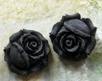 26mm Sweet Black rose cabochon - 4 pcs (CA818-C7)
