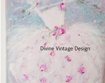 Shabby-Pink-Roses-Tutu-Painting-Wall Art-Chic-dress-Blue-Aqua-Ballet