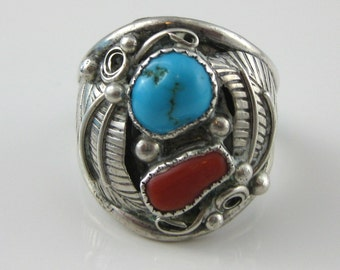 Ring, Size 12.75, Large Mens Ring, Sterling Silver, Turquoise, Red Coral, Leaflet Silver Ring