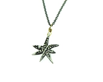 bohemian silver star necklace . 7 point star necklace pendant . petite alchemy talisman necklace by peacesofindigo . ready to ship