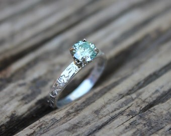 SALE moissanite engagement ring . unique engagement ring . bohemian diamond alternative engagement ring . green engagement ring . size 5