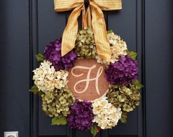 HYDRANGEA WREATHS, Summer Hydrangea Wreath, Wreaths, Summer Wreath, Summer Hydrangeas, Front Door Wreath, Home Decor Wreath, MONOGRAM Wreath