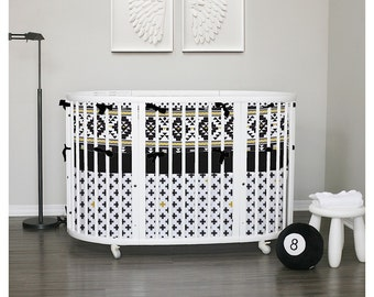 Stokke Sleepi items or set - Black & White - choose your fabrics, piping and ties colors