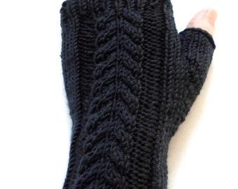 Black Handknit Fingerless Gloves for Women, Teen Girls, Texting Gloves, Hand Warmers, cable pattern, superfine merino wool, gift for women