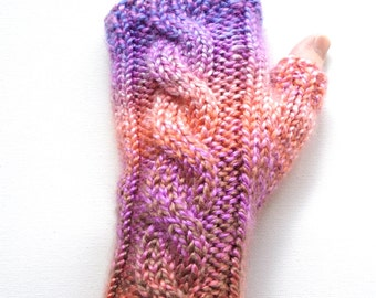 Handknit Fingerless Gloves for Women, Teen Girls, Texting Gloves, Hand Warmers, cable pattern, acrylic, peach and lavender, bulky weight