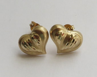 14K Yellow Gold Romantic Vintage Heart Earrings, free US first class shipping