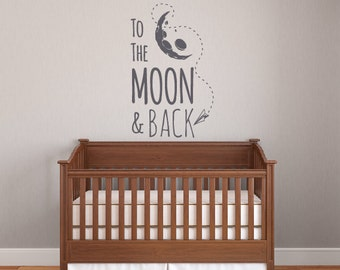 Vinyl wall decal- To the moon and back wall graphic, wall sticker, vinyl wall art, item 30034