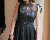 "Black Silk Dress Trixie of California Vintage 1950's Black Silk Organza and Lace Size 15/ 28"" Waist"