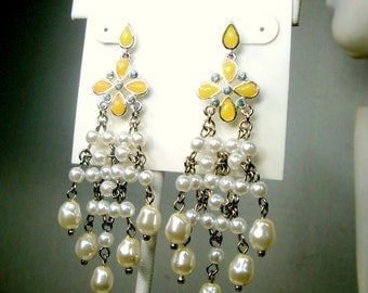 LIZ CLAIBORNE Rhinestone,  Silver n Pearl Hanging Earrings, Glam Chandelier Posts with white lustered pearls n Yellow tops, UNUSED 1990s
