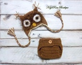 Newborn Baby Boy Crochet Owl Earflap Hat and Diaper Cover Set Furry Brown