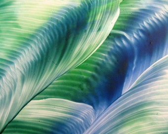 4X6 Green, Blue Swirls Encaustic (Wax) Original Abstract Painting. Beeswax Painting. SFA (Small Format Art)