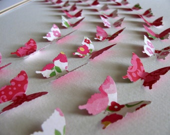 11X14 Floral 3D Butterfly Art / Dark Pink, Rose Pink, Green, Off White / Ready to Ship