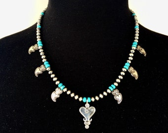 N34 Mini Squash Blossom Boho Style Necklace Sterling Silver Turquoise Santa Fe Pearls Madrid Heart and Taos Hearts