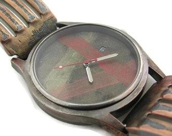 Men's Watch with Date, Multicolor Dial Wrist Watch hand made bracelet metal