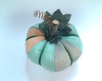 Size 1 |Turquoise Pumpkin | Halloween | Thanksgiving | Fall Decor | Holidays | Handmade | Fabric Pumpkin | Pin Cushion | Table Decoration #1