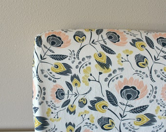 Fitted Crib Sheet or Changing Pad Cover - Flora's Oasis in Navy, Mustard/Gold and Peach
