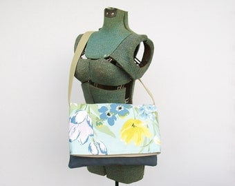 Yellow and Blue Messenger Bag, Blue Purse, Faux Suede Purse, Floral Messenger Bag, Shoulder Bag, Crossbody Bag, Tulip, White,, Medium