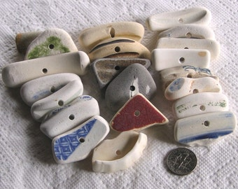 21 XL Large Chunky Sea Beach Pottery Toggles Focals Centre Drilled 3mm holes Supplies (1876)