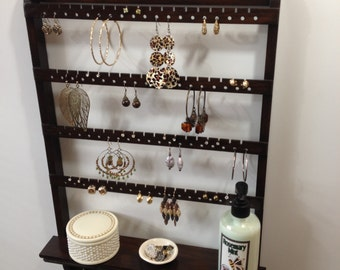 Elegant Shelf Organizer, Jewelry Holder, Post Earring Storage, Earring Holes, Necklace Display, Oak Hardwood, Wall Mount, Makes A Great Gift