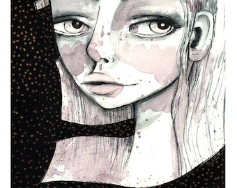 5x7 Art Print - 'Jenna' - Small sized Artwork - Mixed Media Painting Print by Jessica von Braun - Black and Pink - Black and White