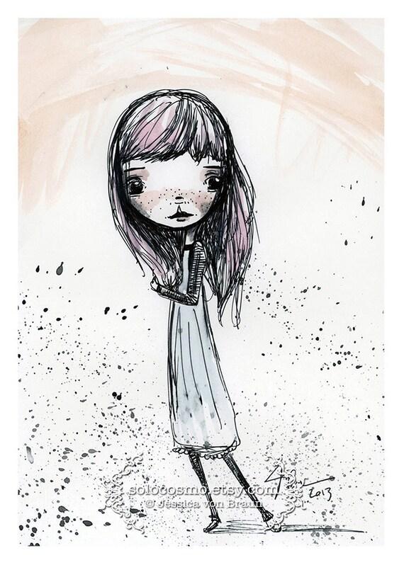 "5x7 fine art print - ""Penelope' - artwork by Jessica von Braun - Cute little girl pink and blue watercolor art print by Jessica von Braun"