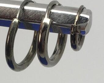 Endless hoop earrings plated in black gold - infinity hoop earrings - small endless hoop earrings three sizes 6mm 8mm 10mm - 553B 554B 555B