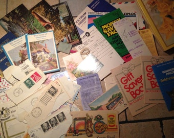 Collection of Miscellaneous Vintage Paper in Yellow Rose Card Box
