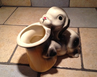 Cute Puppy with a Top Hat Planter