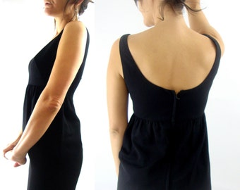60s black dress empire small scoop neck back small xs