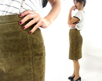 80s suede skirt / high waist / olive green / S / M / 6 7 8