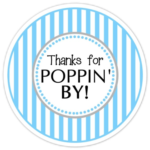 Baby Shower Popping By Labels Bright Blue Stripes Thanks